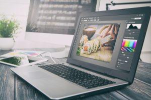 photoshop on laptop